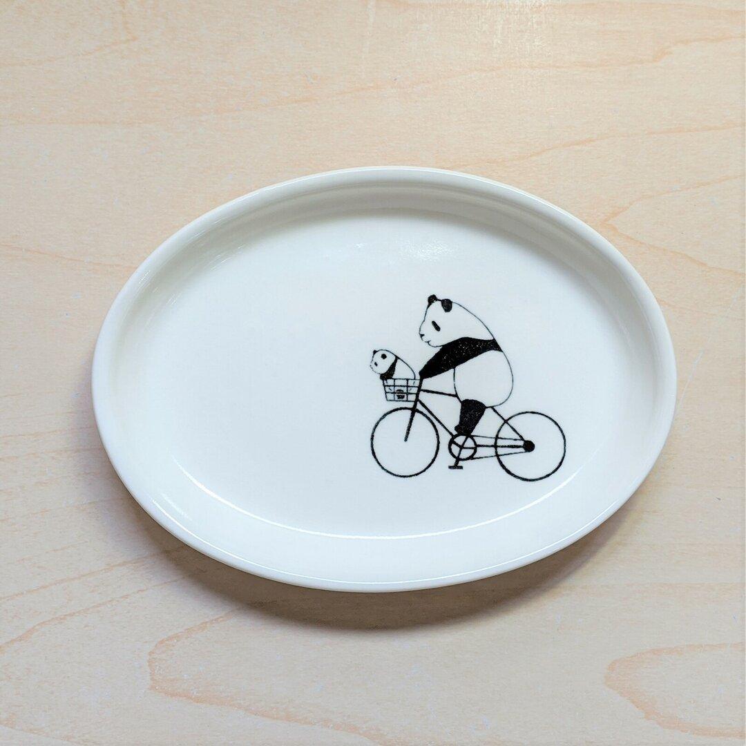 楕円皿(自転車パンダ)