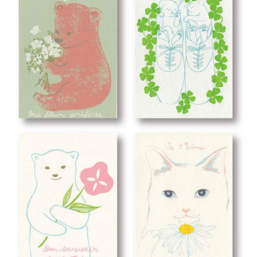 癒しの草花と動物4枚set*版画(シルクスクリーン)*ポストカード4枚