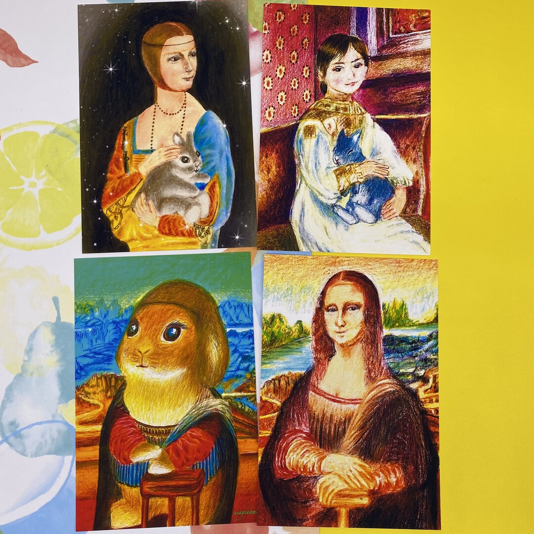 うさぎと絵画コラボシリーズ 人物画編 ポストカード4枚セット