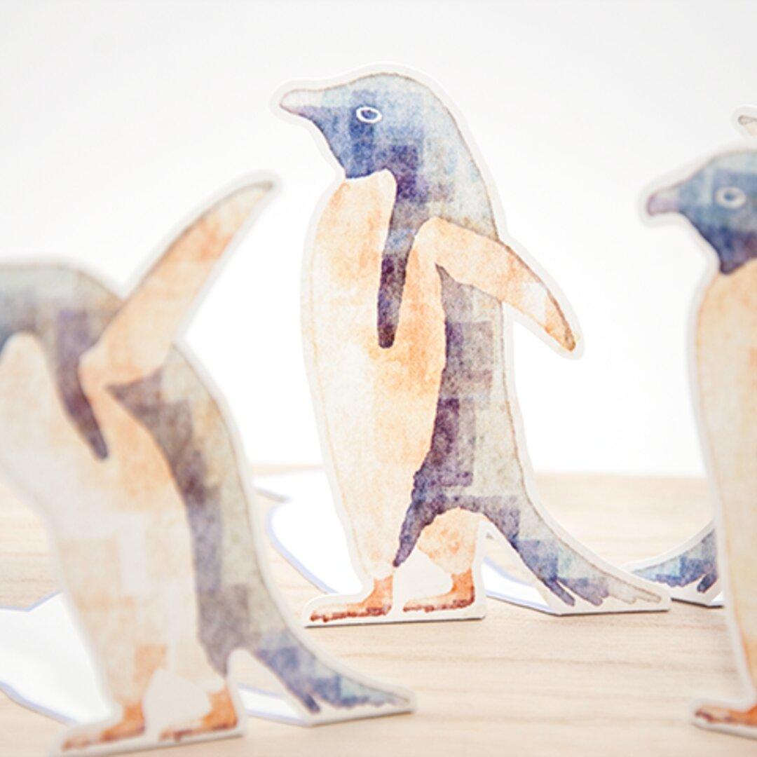 立てられるペンギンのメッセージカード【水彩アート風】
