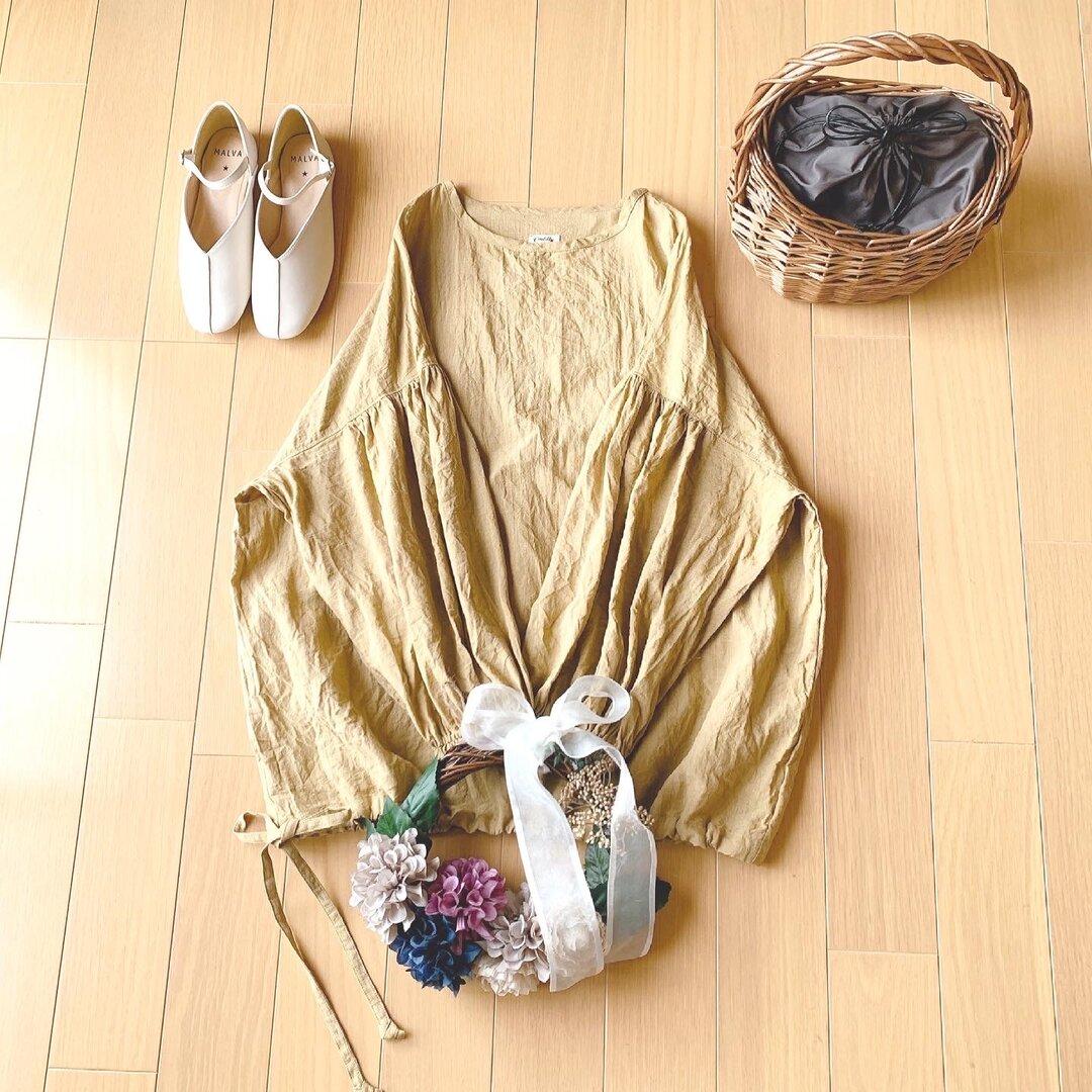 ☆受注制作☆バルーン袖のブラウス☆ベルギーリネン☆リネン100%☆カラーオーダー☆フリーサイズ☆裾リボン☆