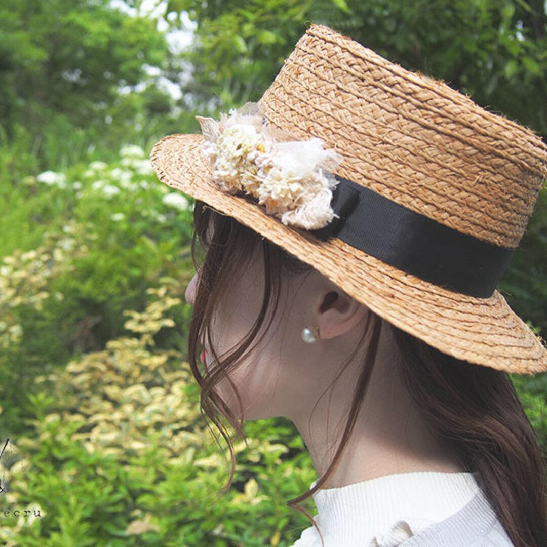 アンティーク風 お花の紅茶染めヘアクリップ