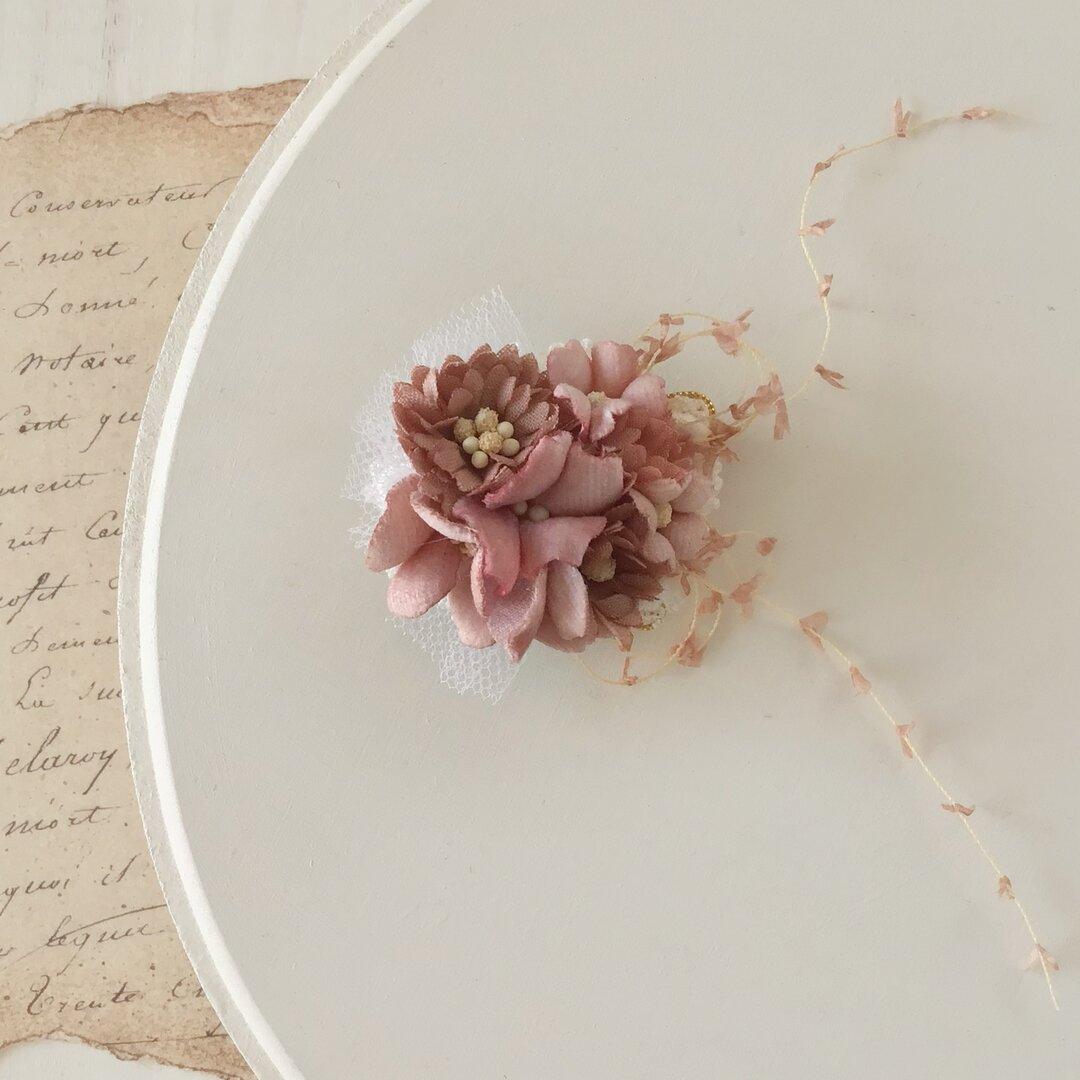 染め花のミニミニクリップ(マロンピンク)