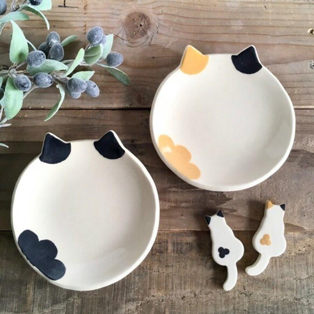 猫のうつわ「三毛猫、ハチワレ猫、白猫」小皿と箸置きお一人さまセット