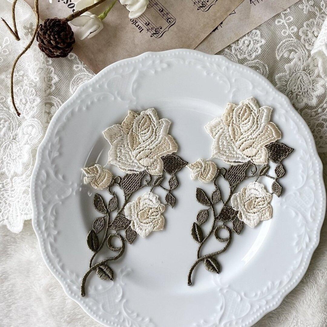 1枚 綺麗 花 フラワー 刺繍 ケミカルレース モチーフ アップリケ BK210923 ハンドメイド 手芸 素材