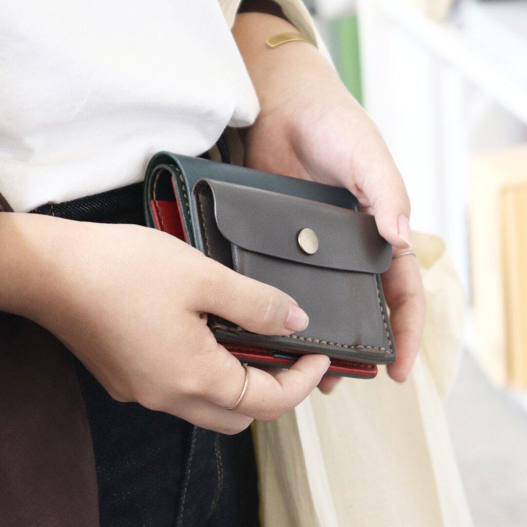 コンパクトのようなミニ財布|ブルー×赤×グレー〈受注製作〉