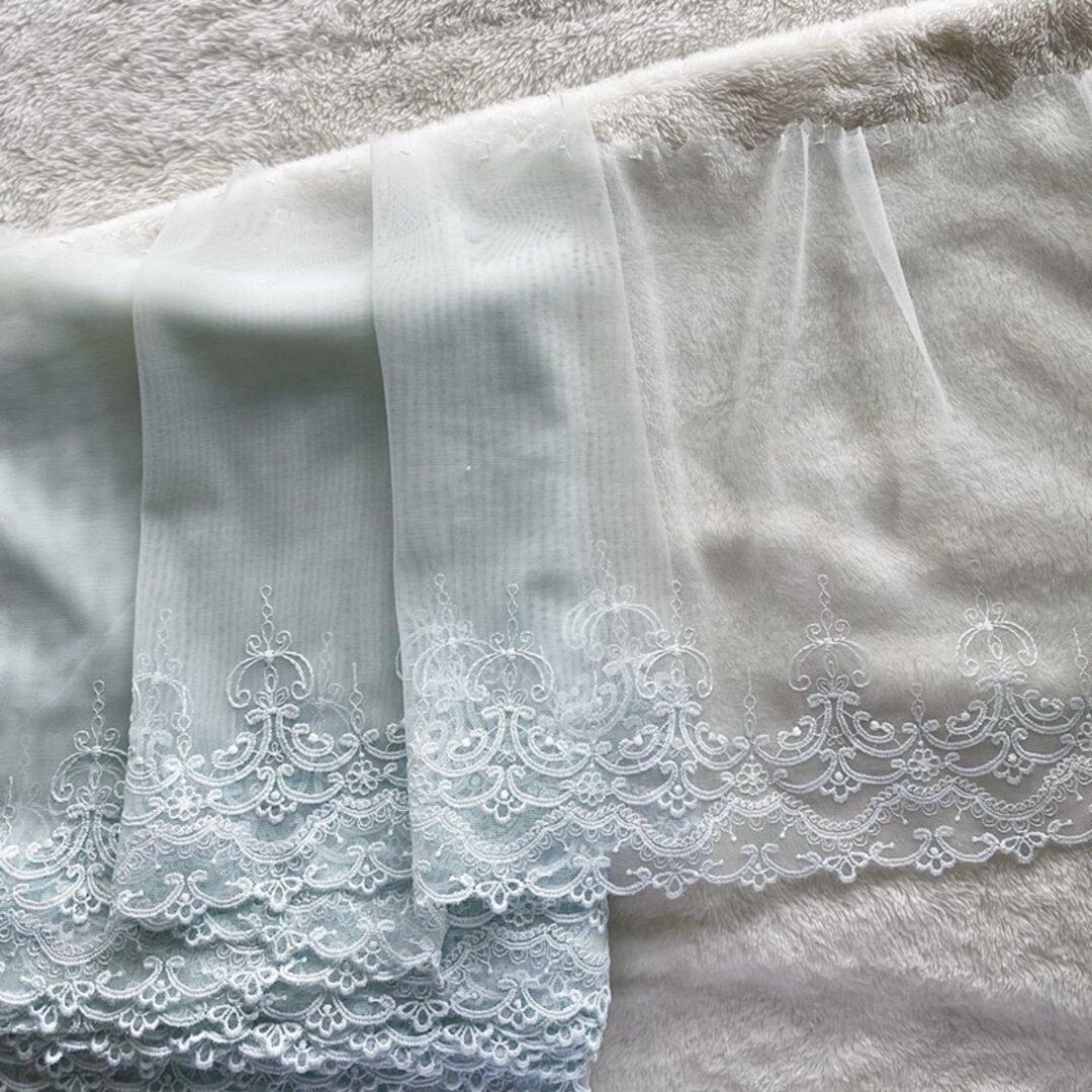 1m 美しい ロココ調 刺繍 チュールレース ミントグリーン BK210918 ハンドメイド 手芸 素材 材料 DIY