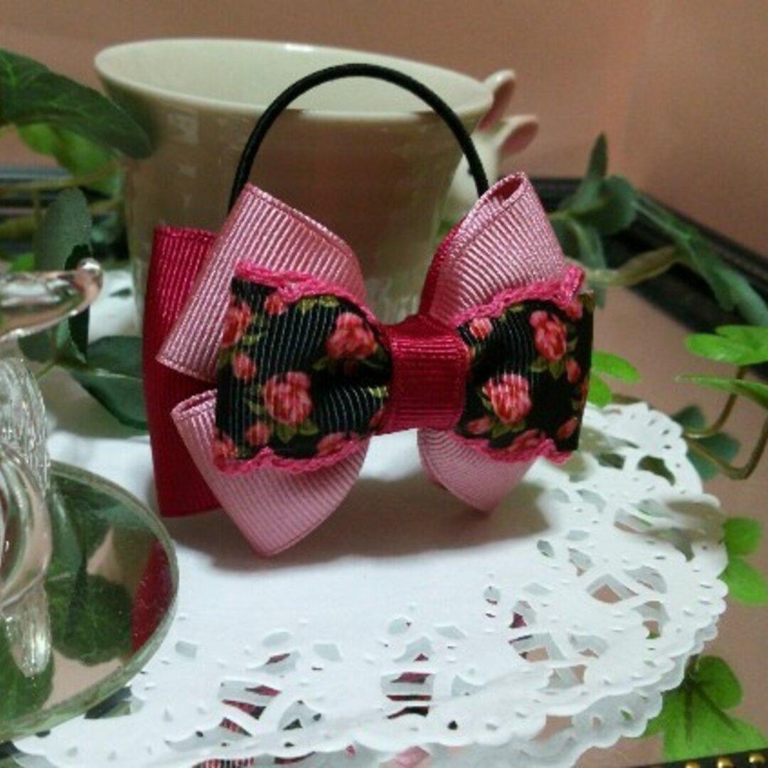 特別セール♥黒とピンクのリボンのポニーテール&ハーフテール用