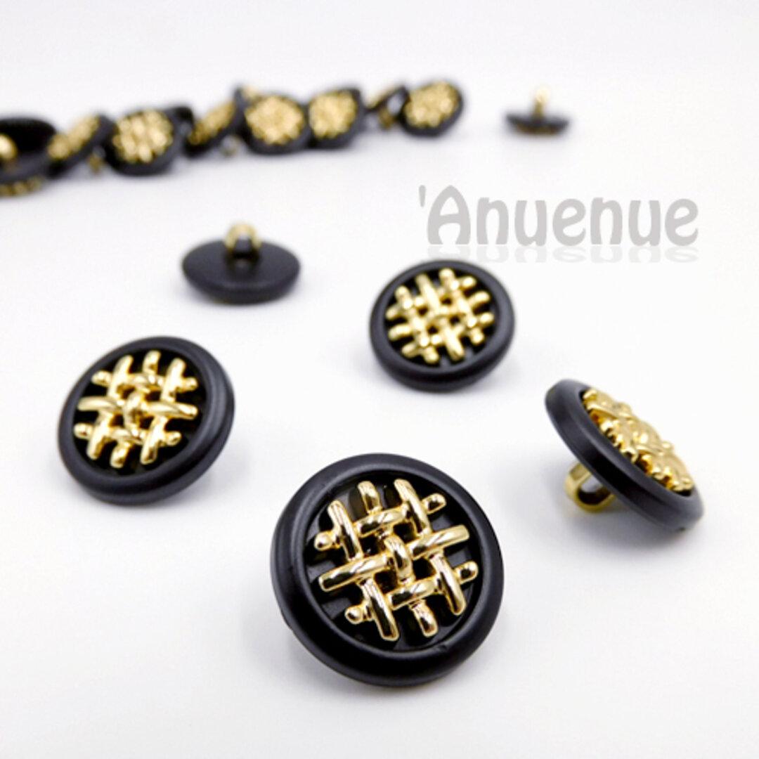 ゴールド格子デザイン シャンクボタン 18mm 【BLACK x Gold 】 4個