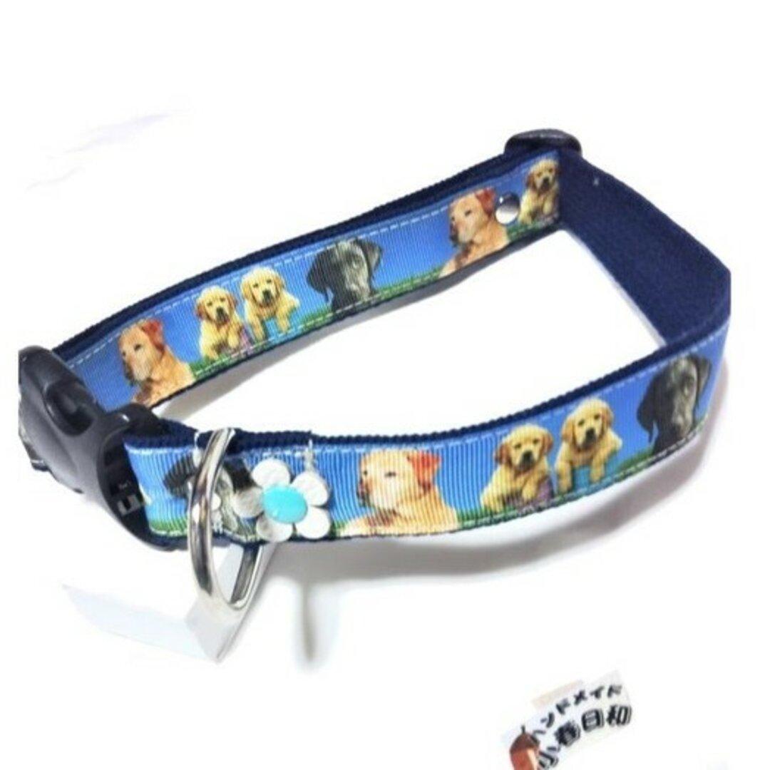 ラブラドールレトリーバー柄の犬用首輪(花型装飾付)