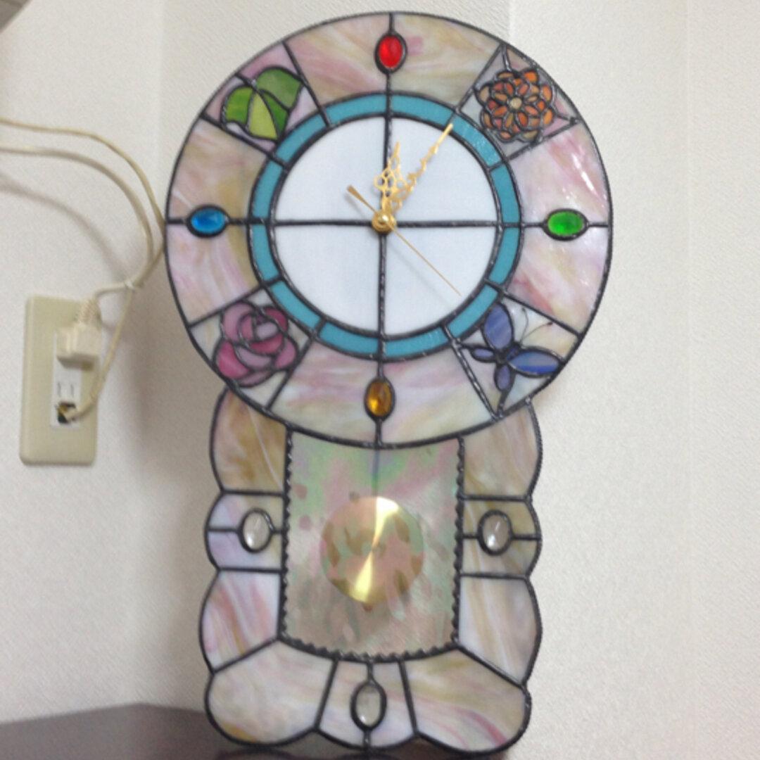 ステンドグラス四季の振り子時計