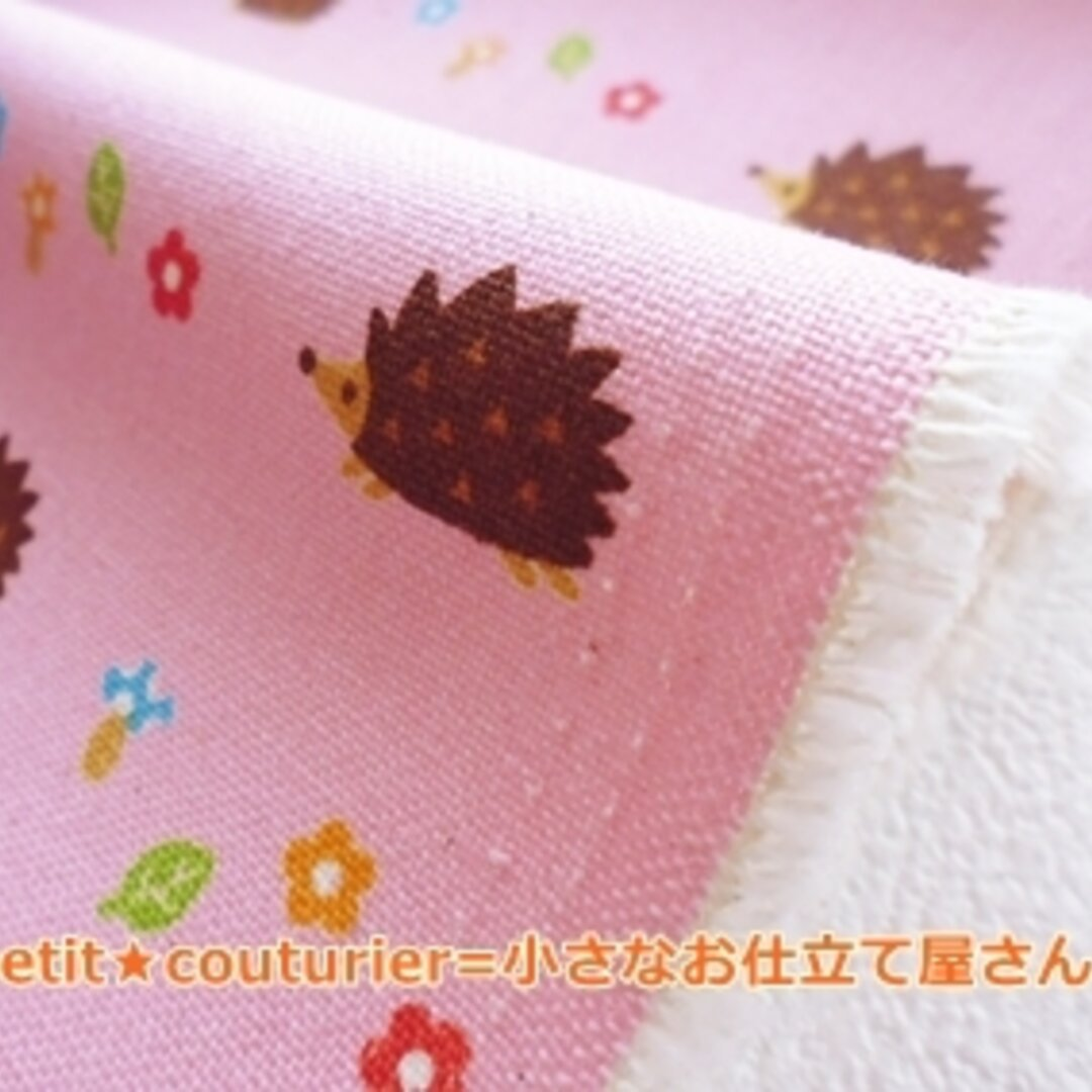 【送料無料】 No.446-pink はりねずみ模様の綿麻ハンプ 50×50 ピンク