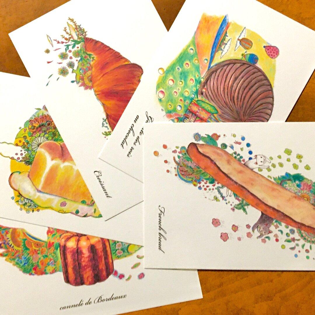 パン屋さんイラスト ポストカード5種類