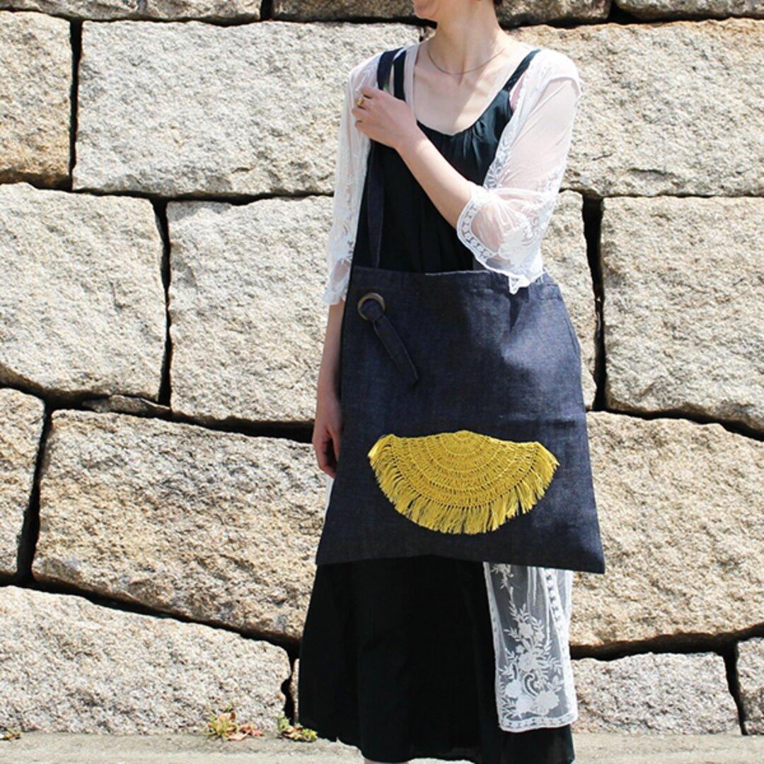 Unisex Denim Big ショルダーバッグ ーひまわり Sunflowerー