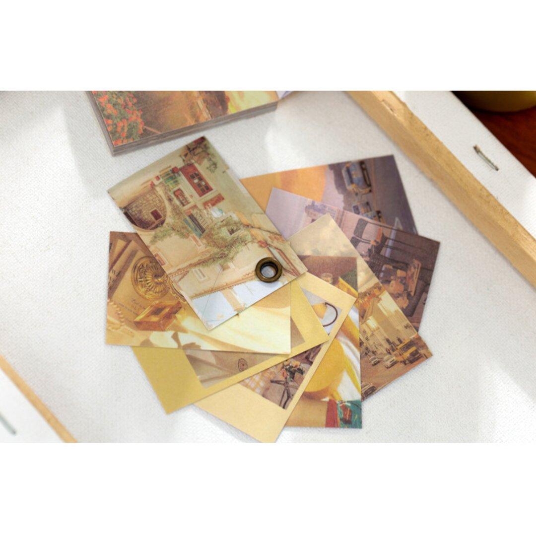 豆本風シール 暖かいオレンジ色 50枚 和紙 写真 コラージュ Vol.2