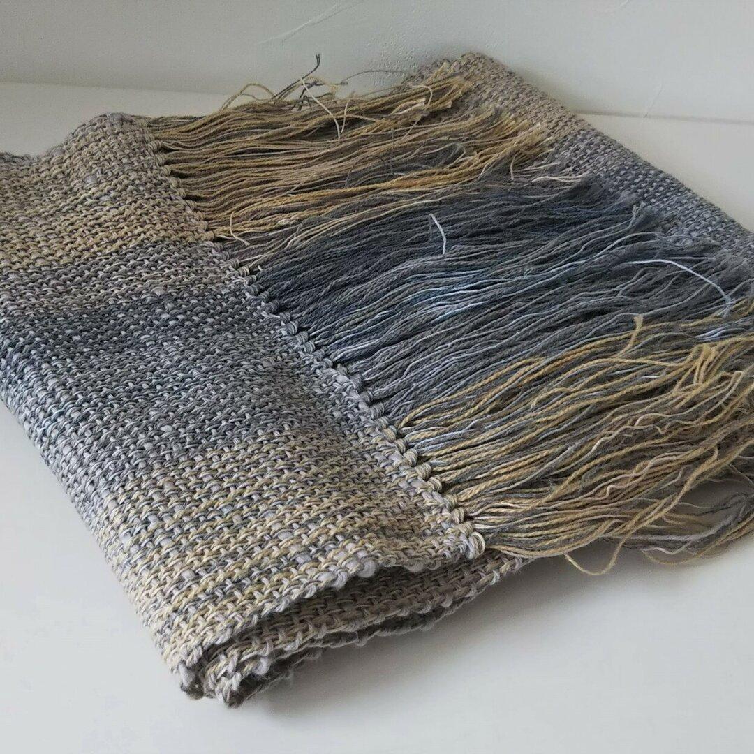 手織り 細いストールC068