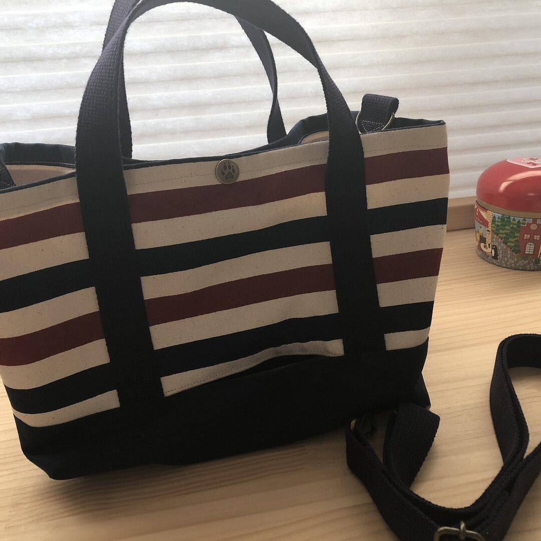 おとママ羊毛フェルト お散歩トートバッグ マリン柄(マリン柄の仕切り袋) ショルダー ティッシュBOXそのまま入るバッグ