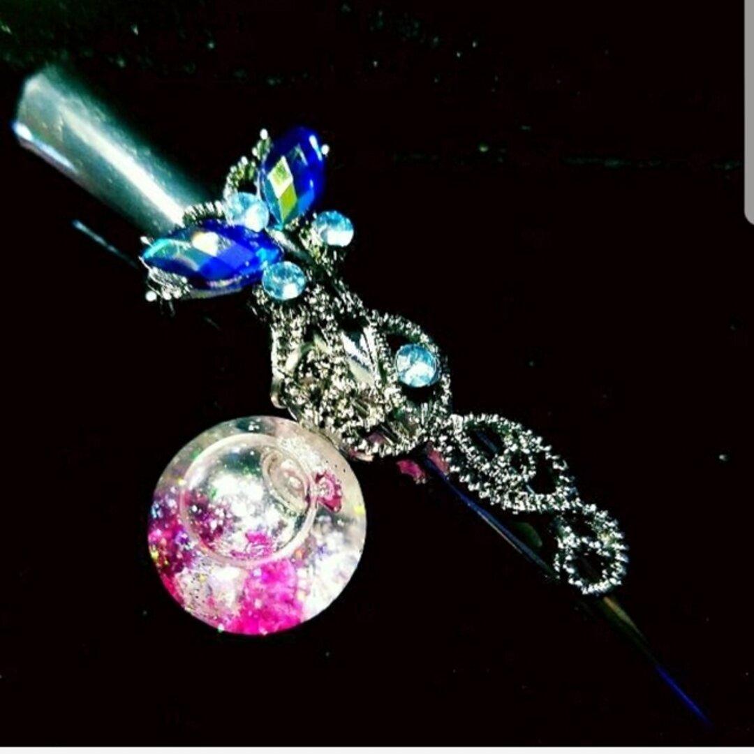液体ガラスドーム スワロフスキー ブルービジュー ヘアピン 蝶 ピンク