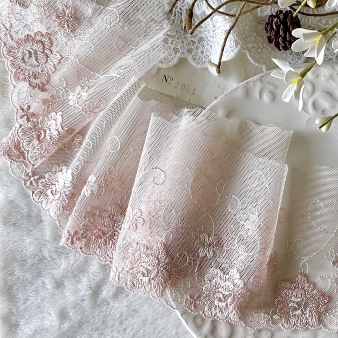1m 綺麗 花 フラワー 刺繍 チュールレース スモーキーピンク系 BK210623 ハンドメイド 手芸 素材 材料