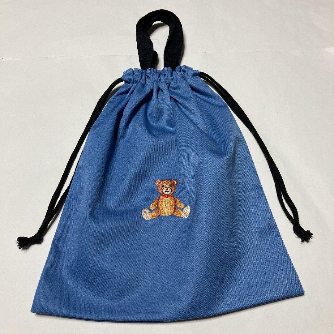 大人気かわいいクマの刺繍入り大きめ給食袋☆クマ268