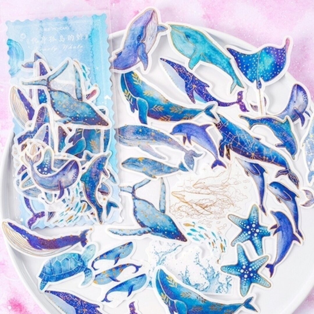 ♥青い海 鯨 🐬イルカ フレークシール 和紙 60枚