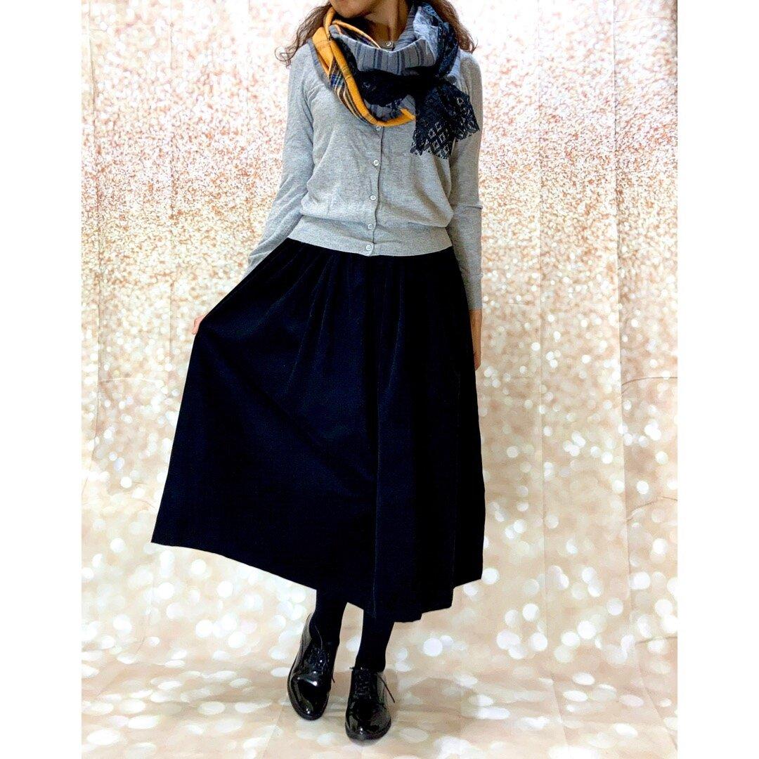 ナチュラル*ウエストすっきりポケットつきコーデュロイのSUブラックスカート受注生産[]k3