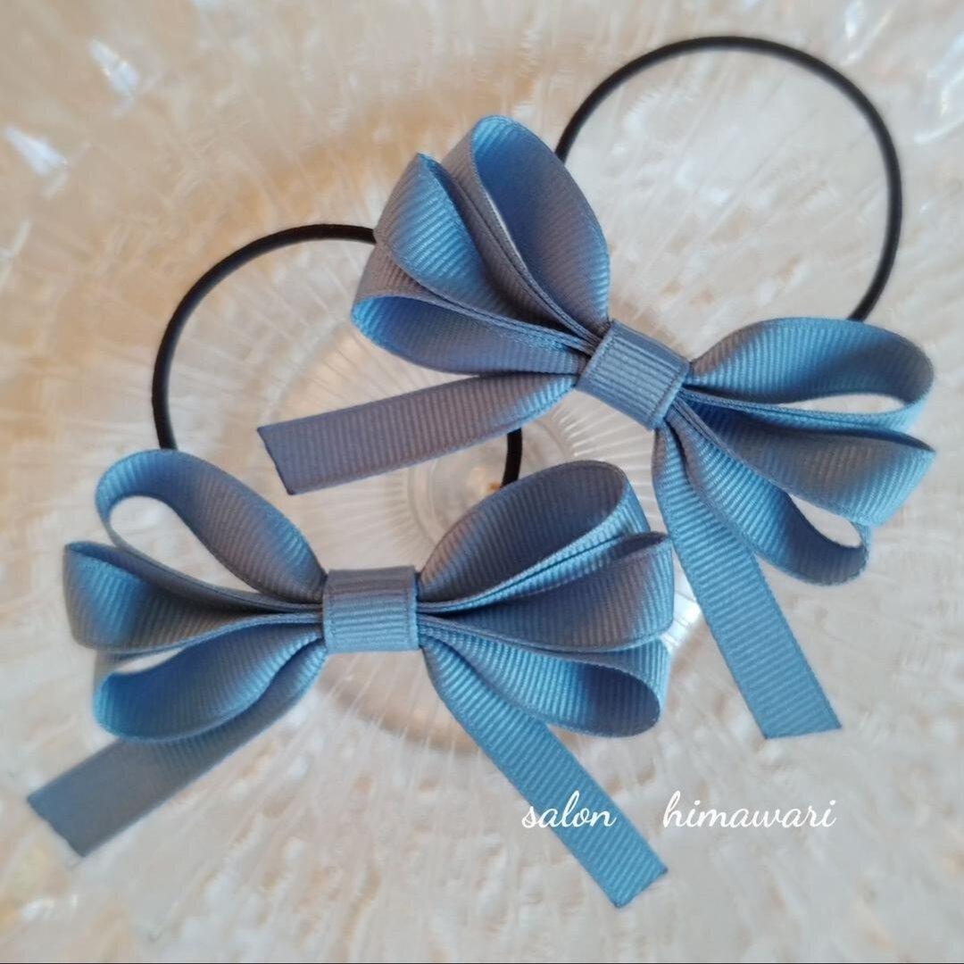 再販10【BLUE】ナチュラルリボン♡ヘアゴム2個セット