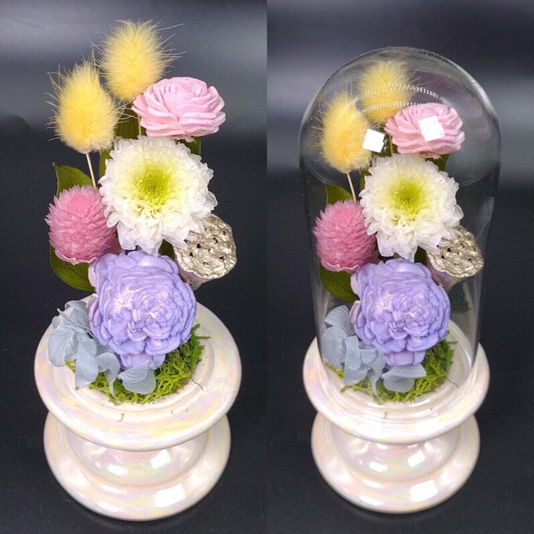 仏花一対《スタイリッシュクリアドーム》   お仏壇に お手間いらずの供花を