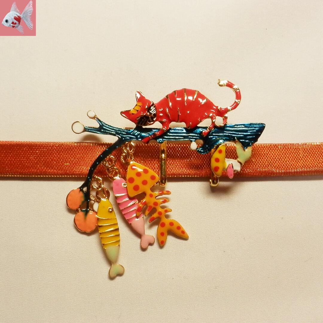 ◆猫の帯留め飾り① レッド