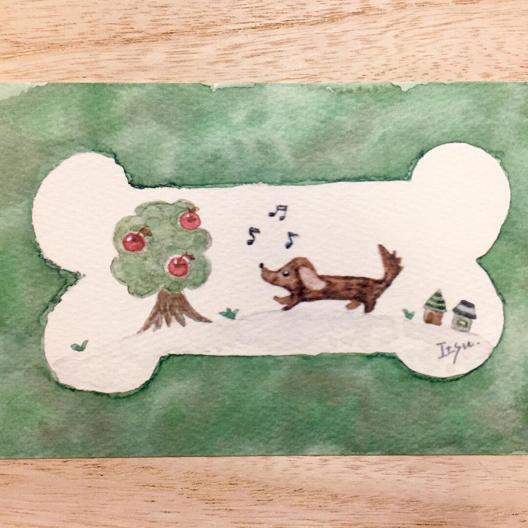🐶「食いしん坊ダックスフンド」  水彩画イラストポストカード2枚セット 犬🐶