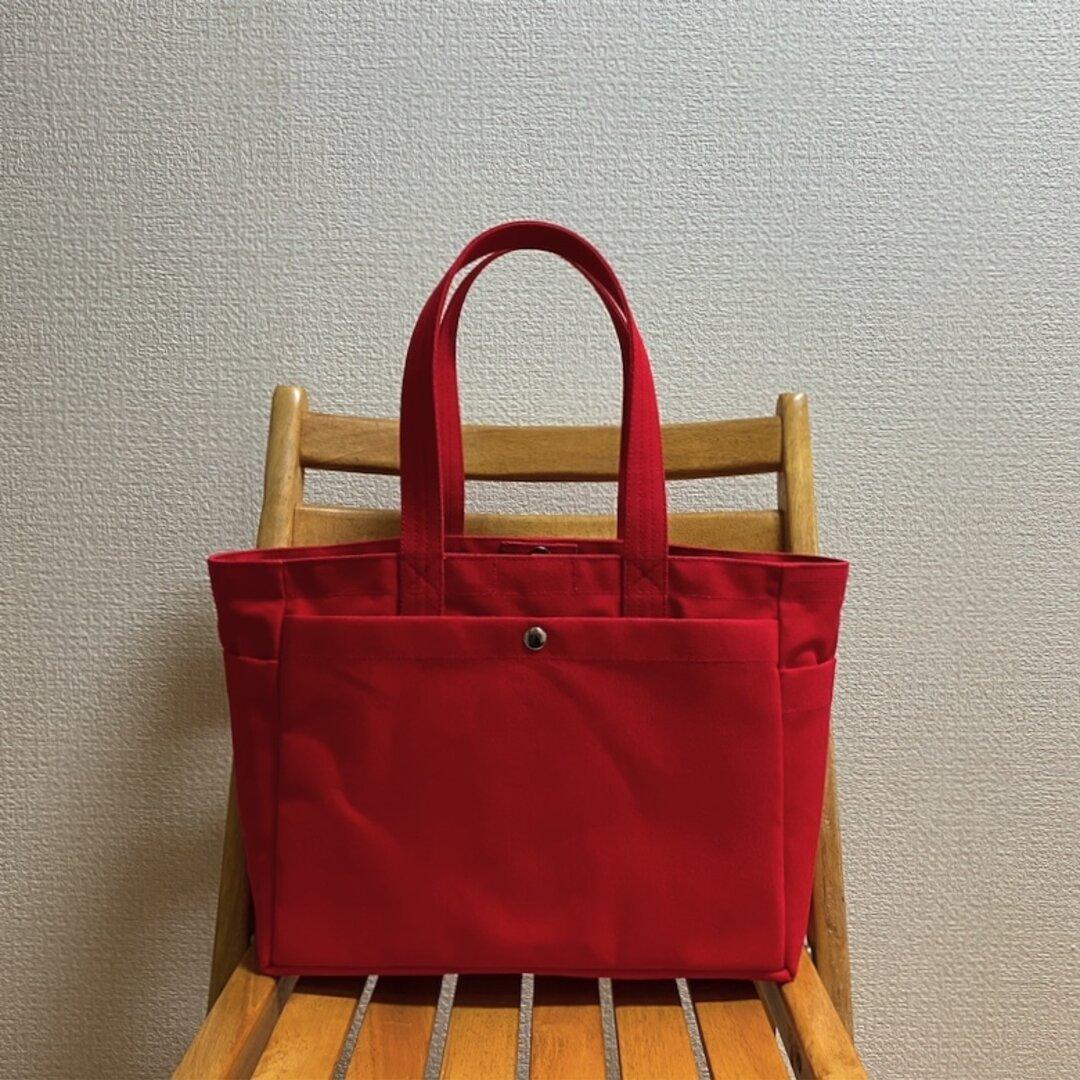 「ボックストート」通勤トート「赤×ミネラルブルー」 倉敷帆布8号【受注制作】