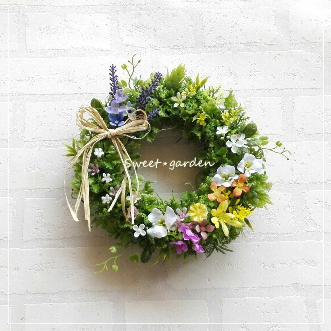 色とりどりの可愛い小花のリース(fw145)*玄関ドアなど外にも飾れるアーティフィシャルリース