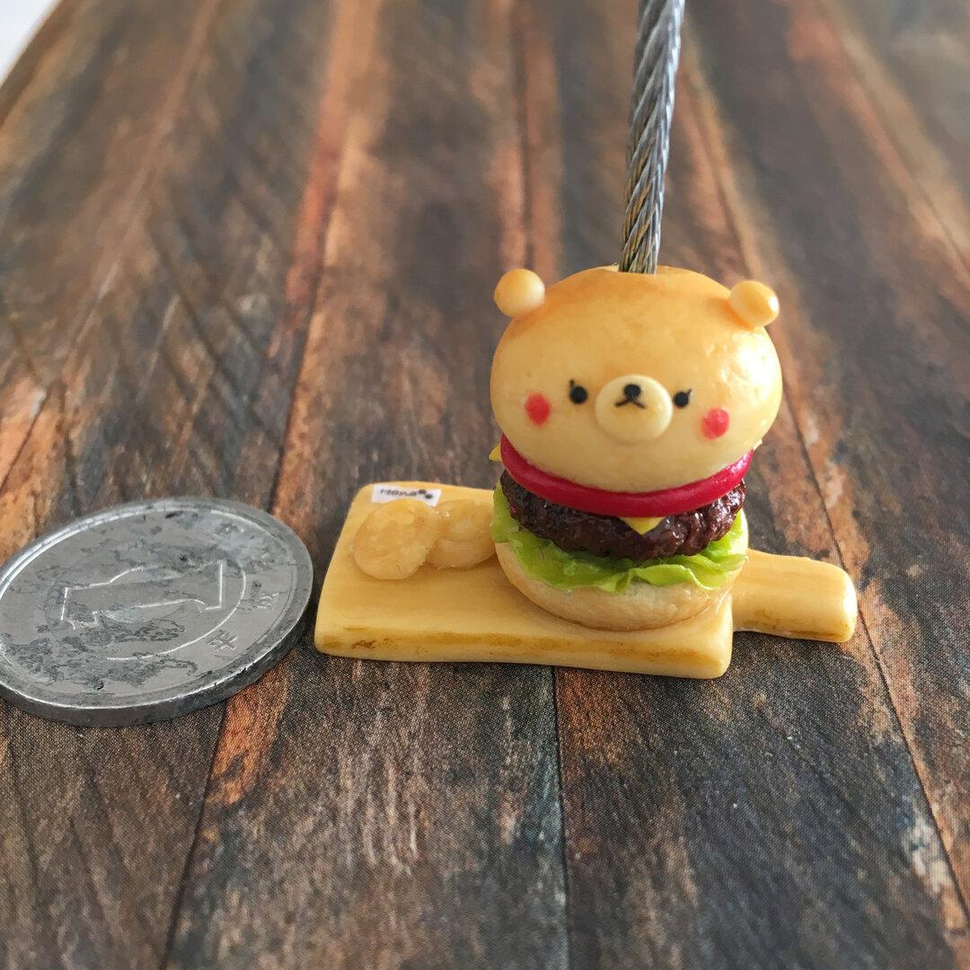 ミニチュアフード メモスタンド フェイクフード ハンバーガー ミニチュア パン くま