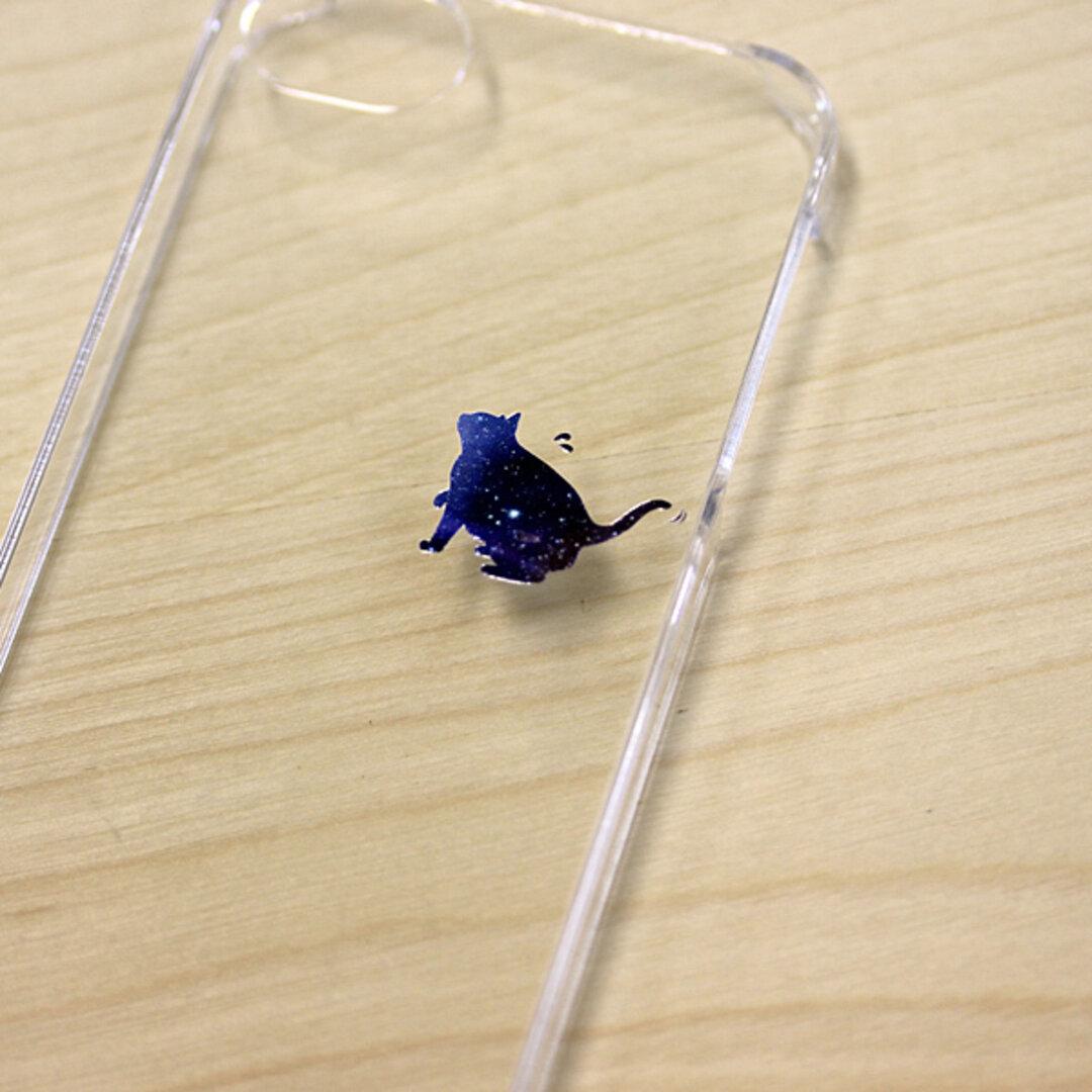 iPhone12 クリア ケース でぶねこ 宇宙