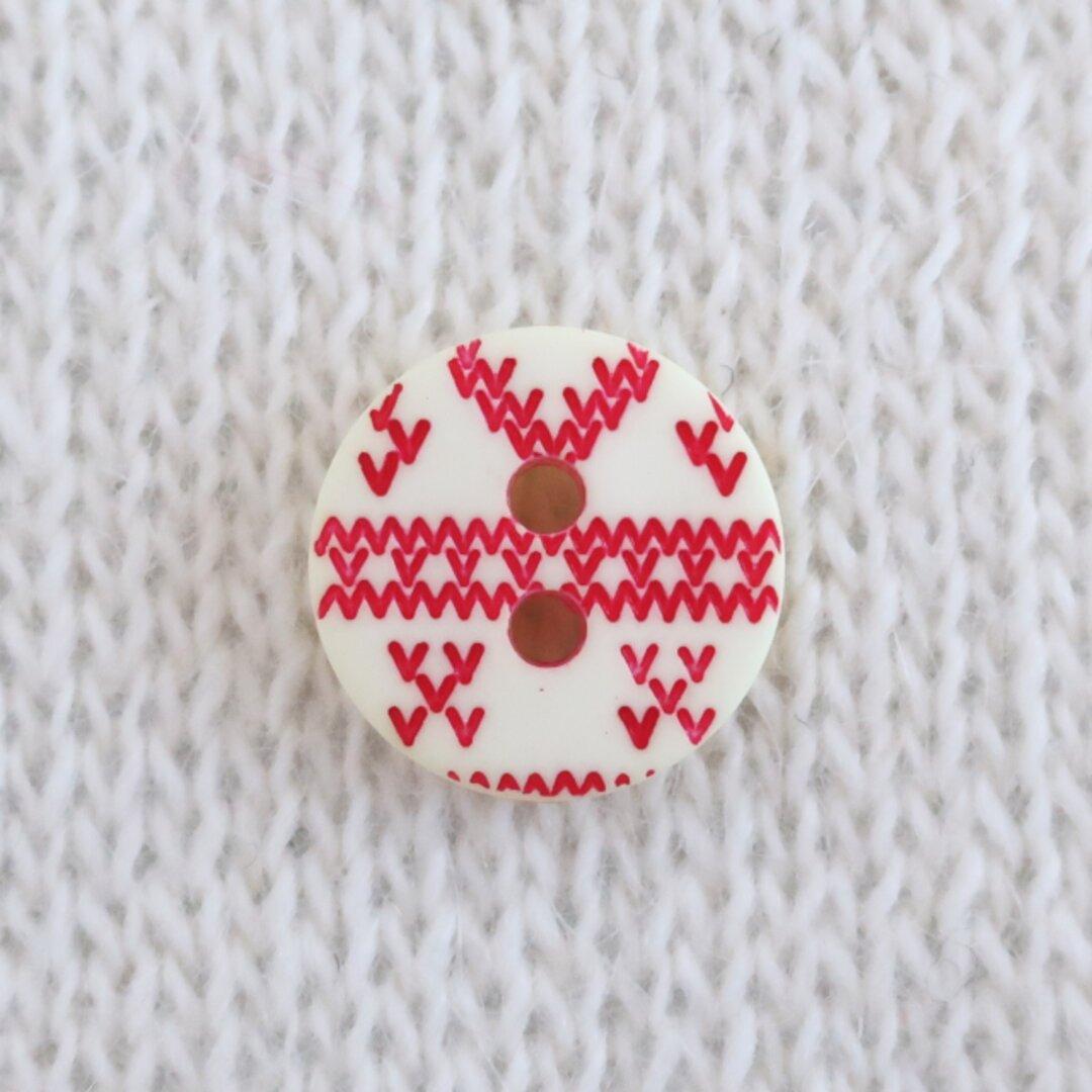 編み目のボタン 生成り フランス製