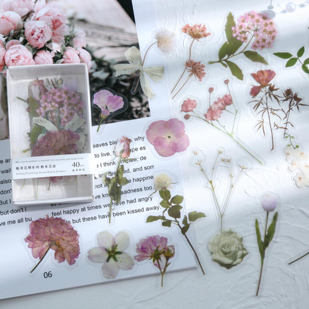 可愛いお花のpetフレークシール ピンク