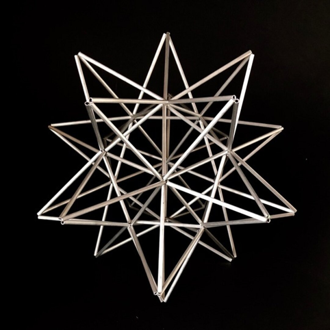 ヒンメリ「太陽 the sun」中サイズ星型 野外使用可なアルミ製 幾何学オブジェ シルバー クリスマスオーナメント