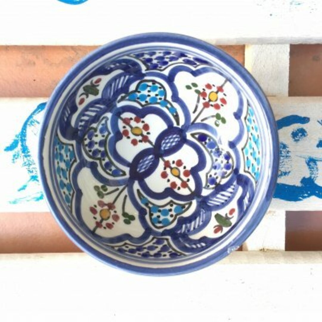 チュニジア・ナブールの陶器 澄んだブルーが印象的 69 ボウル10cm