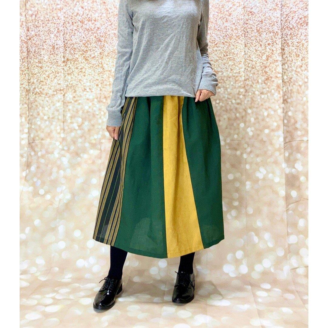 ナチュラルh*和紙緑とリネンと綿麻のはぎスカート By *花織*[]Gk2