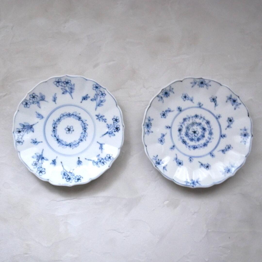 2枚セット 13cm 取り分け皿 和食器 九谷焼 器 うつわ 染付 青 ブルー 花柄 フラワー no.031