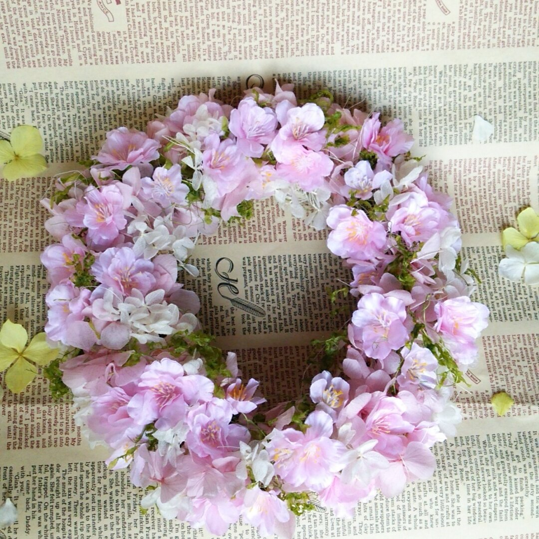 お花がいっぱい*春色さくらリース*ウェルカムボード付に変更可*プリザープドフラワー*誕生日・ブライダル・クリスマスなど贈り物ギフトにも◎