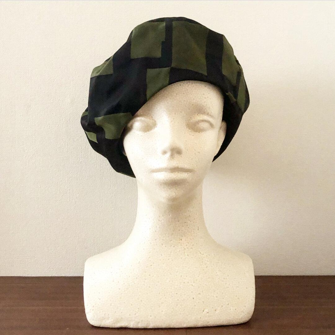 新作‼️カタチにこだわるベレー帽 イタリア生地 グリーン