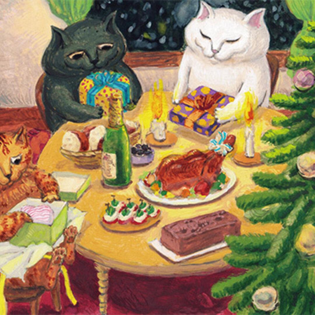 84. カマノレイコ 猫ポストカード2枚組 「クリスマスの夜」
