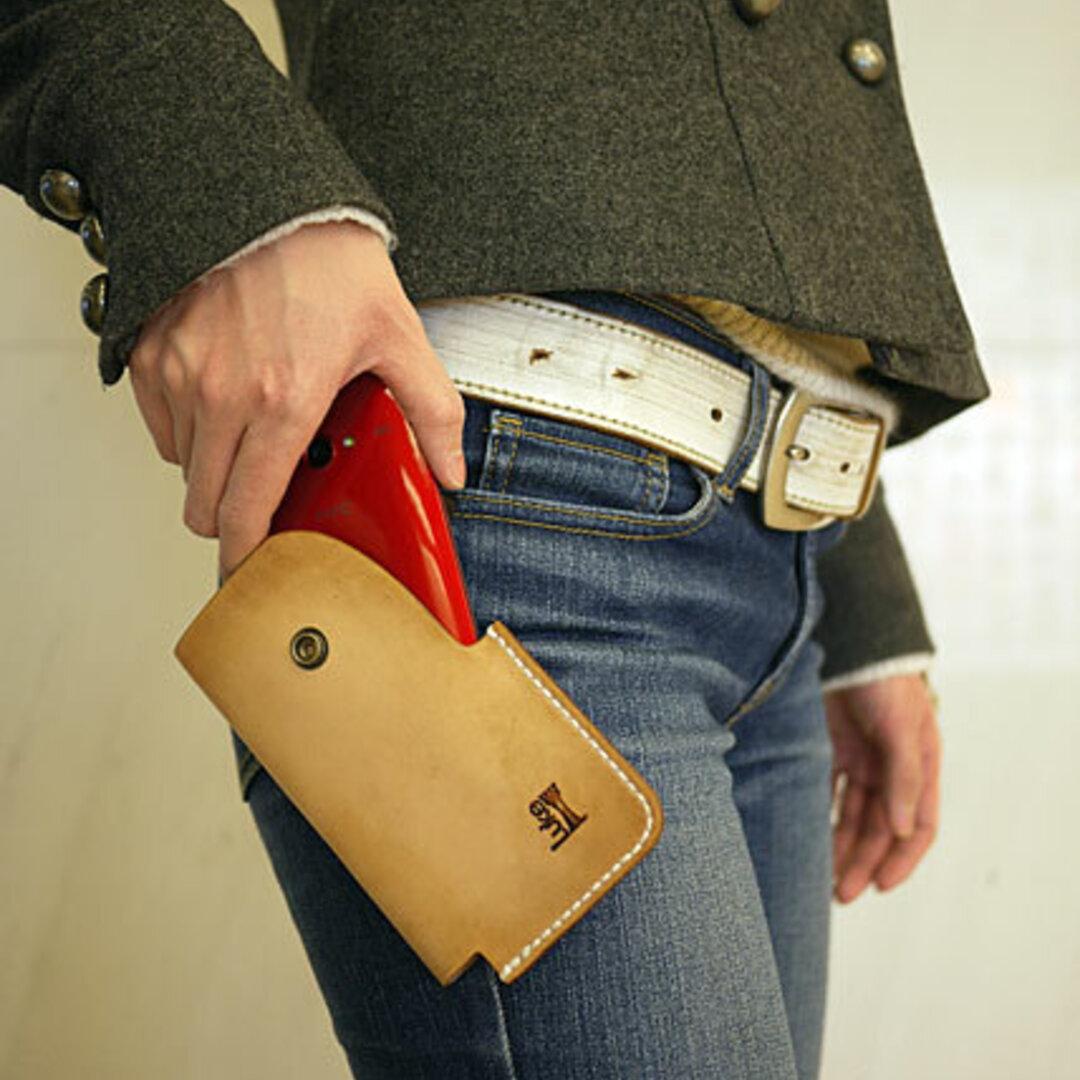 iPhoneX Xperia Galaxy 牛革 レザースマートフォンホルスター02 サイズL ナチュラル 国産栃木レザー【受注生産】