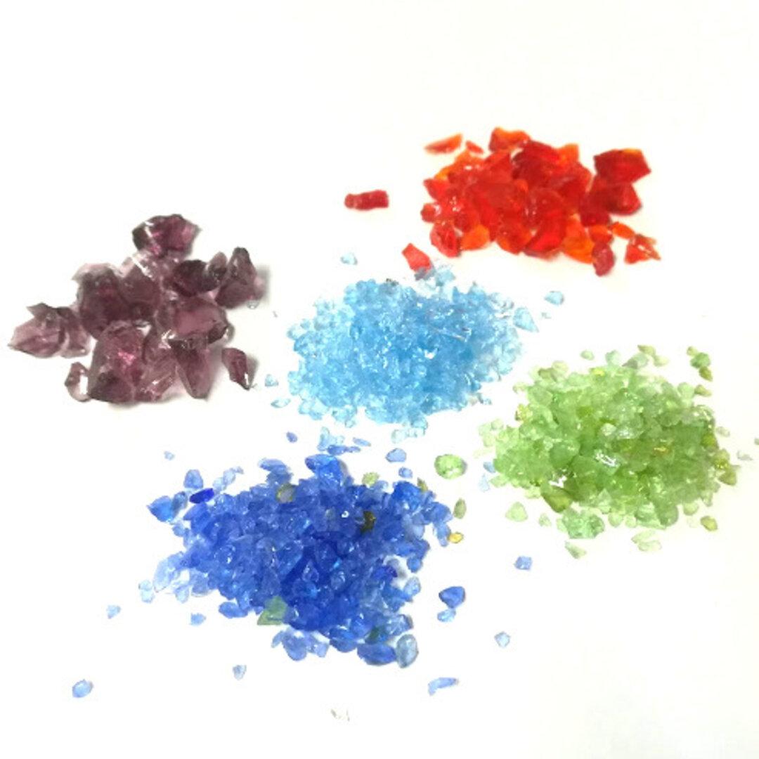 (# 9-26)カレット クラッシュガラス 5色セット ガラスカレット レッド パープル ブルー  グリーン レジン パーツ