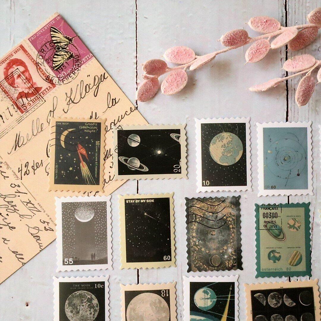 切手モチーフ・宇宙🌍46枚・海外シール