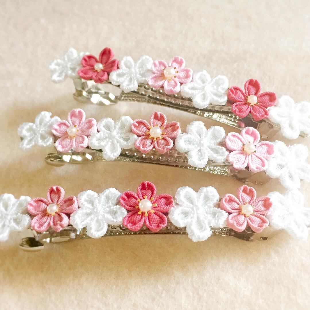 【特集掲載】桜の花のバレッタ *つまみ細工*