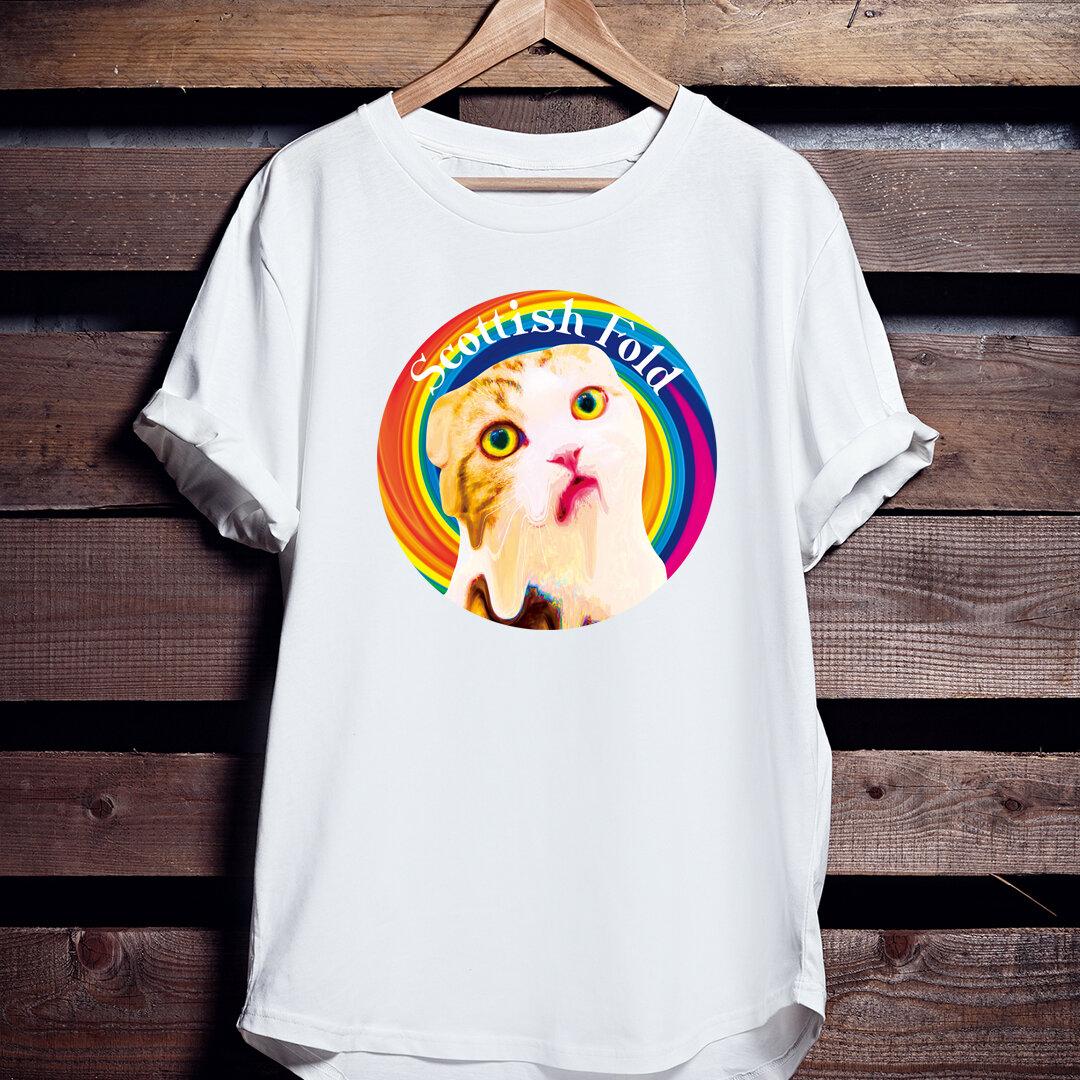 ねこTシャツ「とろけるスコティッシュフォールド」