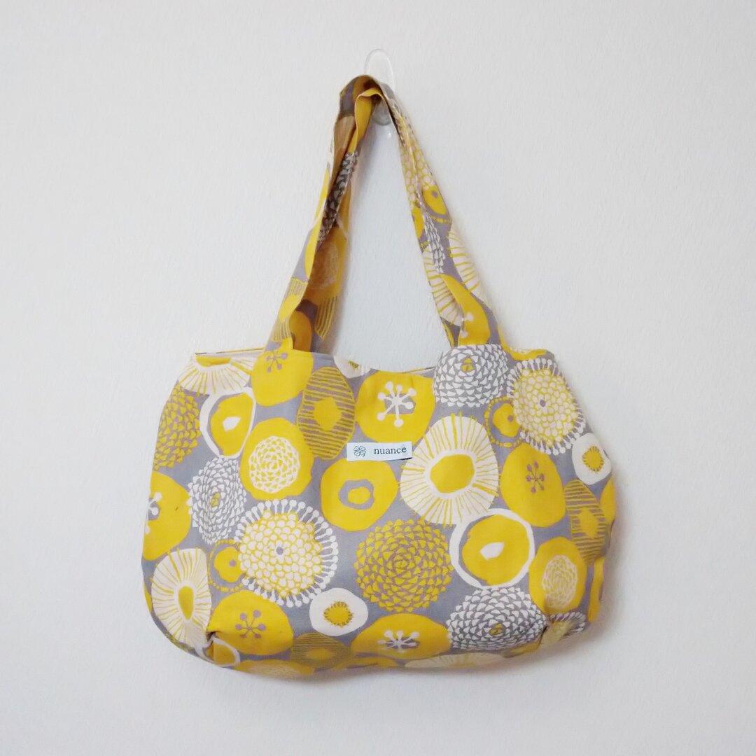 黄色北欧柄 丸いバッグ