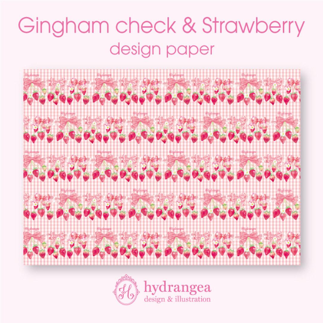 【Gingham check & Strawberry】★上質紙 A4サイズ デザインペーパー